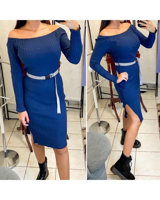 Elastické modré šaty s opaskom