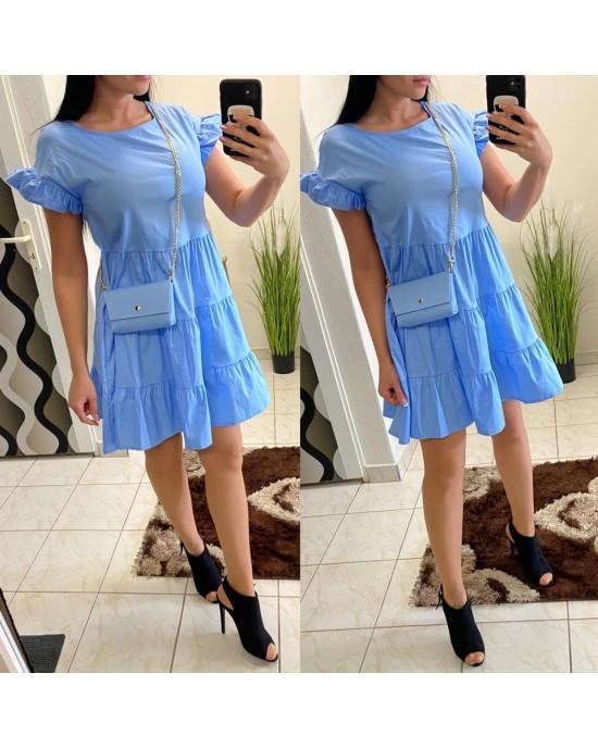 Dámske modré šaty s kabelkou