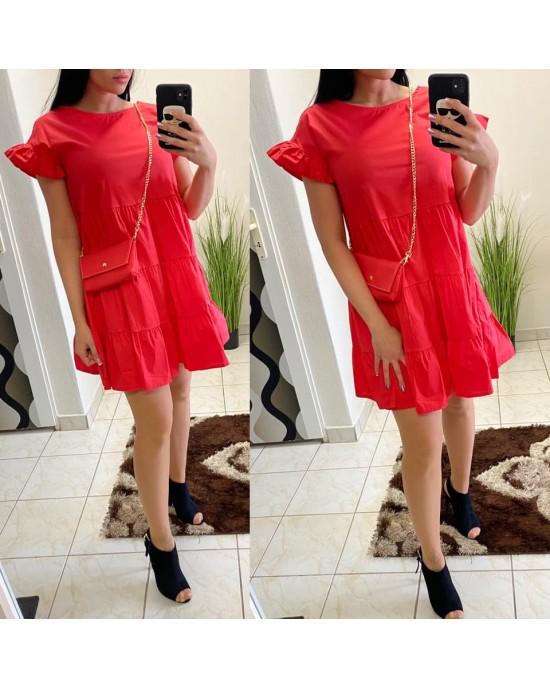 Dámske červené šaty s kabelkou