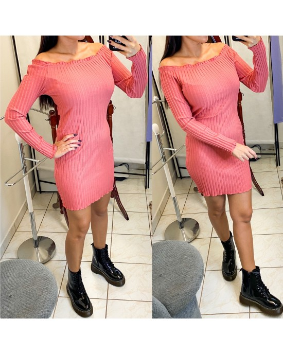 Rebrované lososové šaty