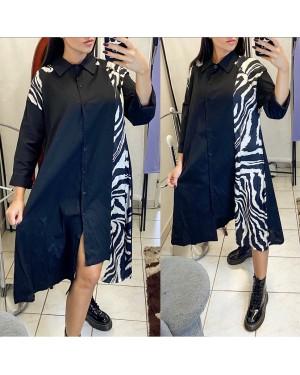 Dámske košeľové čierné šaty